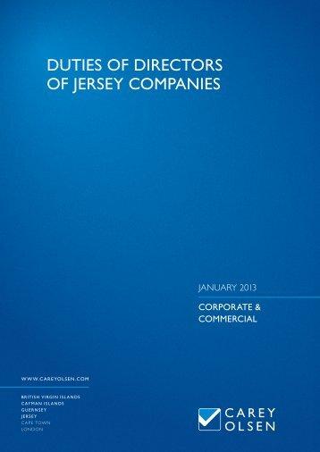DUTIES OF DIRECTORS OF JERSEY COMPANIES - Carey Olsen