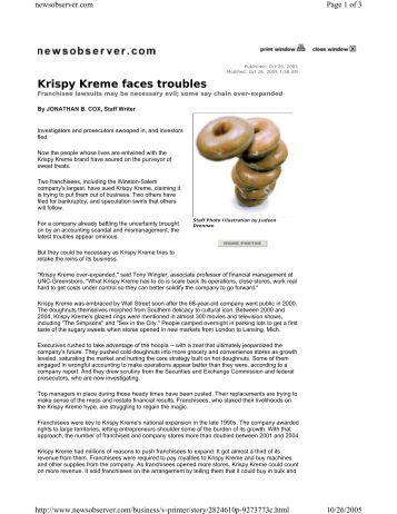 """krispy kreme doughnuts, inc. essay Krispy kreme doughnuts case study krispy kreme was the hottest brand in   krispy kreme doughnuts, inc (hereinafter, """"krispy kreme"""") seemed poised to."""