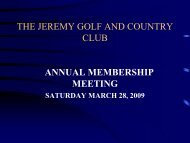 Committee Members - Jeremy Golf and Country Club