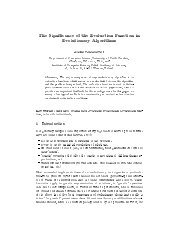 The Significance of the Evaluation Function in Evolutionary Algorithms