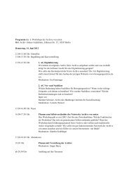 Programm des 6. Workshops der Archive von unten Ort ... - Boellblog