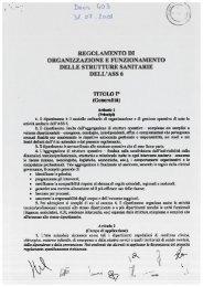 Regolamento di organizzazione e funzionamento delle strutture ...