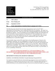 Senate Appropriations Committee Report Language for FY 2012 on ...
