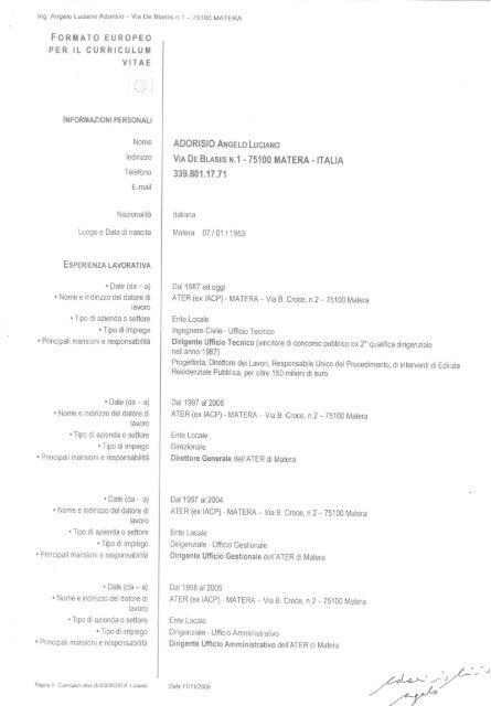 Ing. Angelo Luciano Adorisio - ATER MATERA