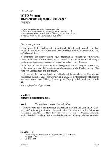 Wipo-Vertrag über Darbietungen und Tonträger
