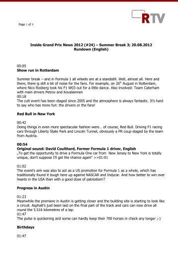 Inside Grand Prix News 2012 (#24) – Summer Break 3 ... - news2use