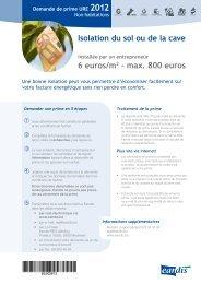 Isolation du sol ou de la cave 6 euros/m2 - max. 800 euros - Eandis