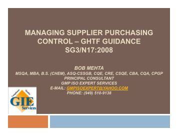 managing supplier purchasing control - ASQ Orange Empire