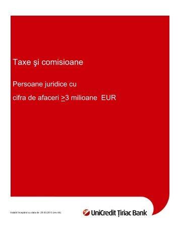 Taxe şi comisioane - UniCredit Tiriac Bank
