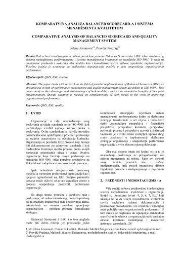 komparatvina analiza balanced scorecard-a i sistema menadžmenta ...