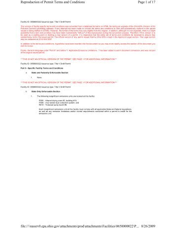 Page 1 of 17 Reproduction of Permit Terms and Conditions 8/26 ...