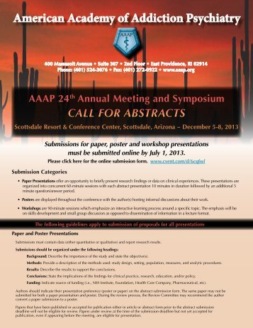 Call for Abstracts - American Academy of Addiction Psychiatry