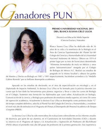 Dra. Blanca Susana Cruz Ulloa - dgapa unam