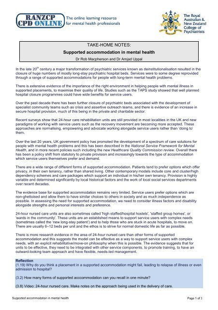 TAKE-HOME NOTES: Supported accommodation in mental health