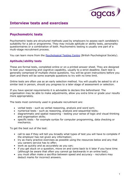 Interview Tests And Exercises Careers And Employability Service