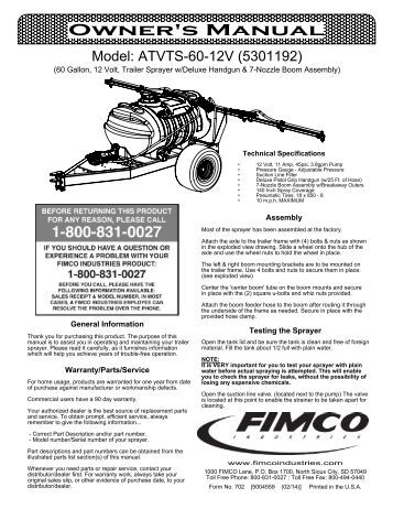 Contents of your sprayer'