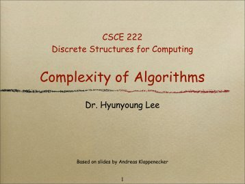 Complexity of Algorithms - TAMU Computer Science Faculty Pages