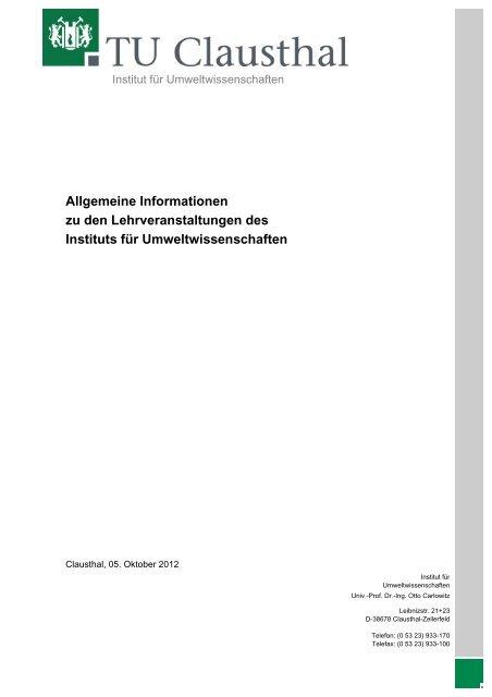 Allgemeine Informationen zu den Lehrveranstaltungen des Instituts ...