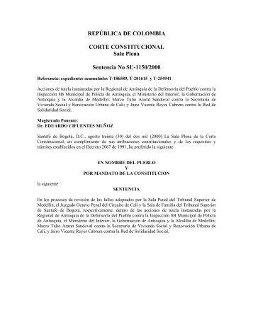 Acción de Tutela, Sentencia No. SU-1150/2000 de la Corte ... - Acnur