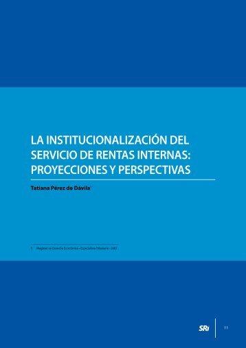 La institucionalización del Servicio de Rentas Internas - Centro de ...