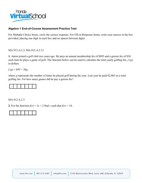 Algebra 1 End Of Course Assessment Practice Test For