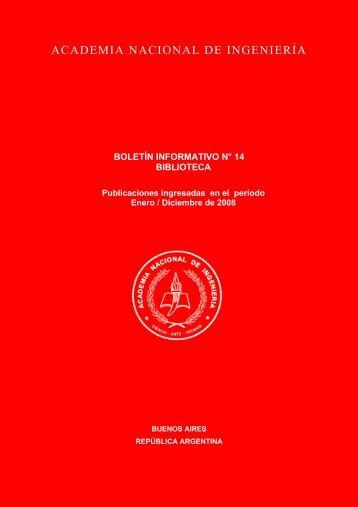 boletín informativo n° 14 biblioteca - Academia Nacional de Ingeniería