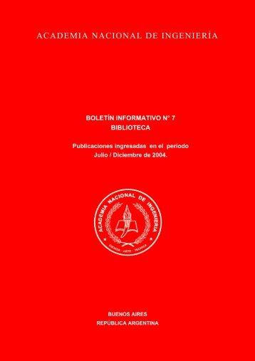 boletín informativo n° 7 biblioteca - Academia Nacional de Ingeniería