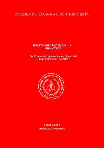 Boletín Informativo 13. Biblioteca. Julio - Diciembre de 2007
