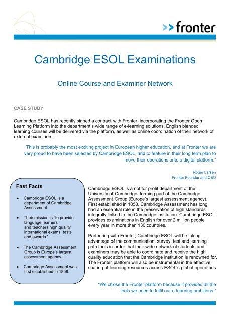 Fronter Cambridge ESOL Examinations