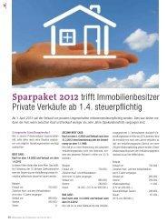 Sparpaket 2012 trifft Immobilienbesitzer Private Verkäufe ab 1.4 ...
