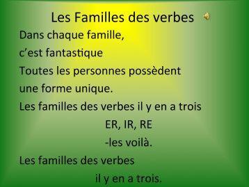Les Familles des verbes