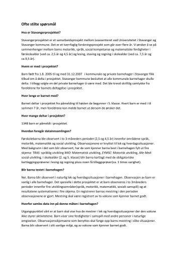 Spørsmål og svar - Lesesenteret - Universitetet i Stavanger
