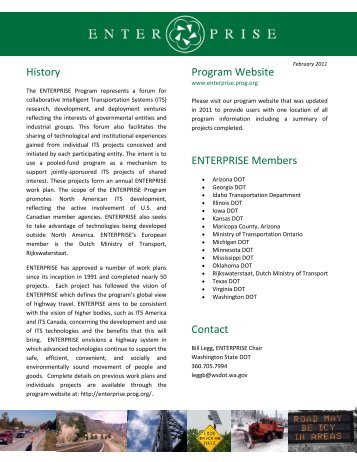 ENTERPRISE Members Program Website History Contact