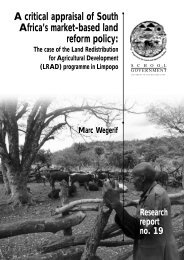 A critical appraisal of South Africa's market-based land reform policy
