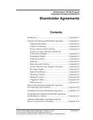 Shareholder Agreements - The Law Society of Saskatchewan
