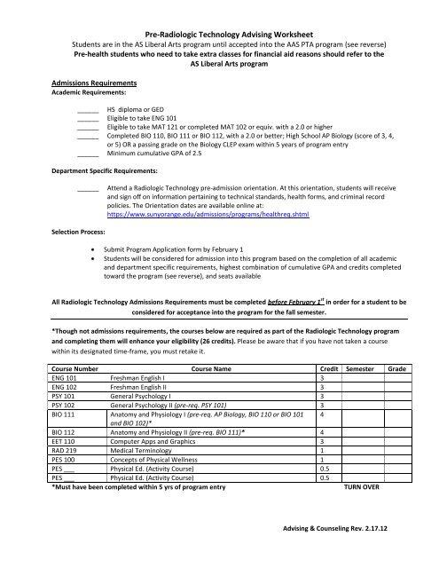 Pre-Radiologic Technology Advising Worksheet - SUNY Orange