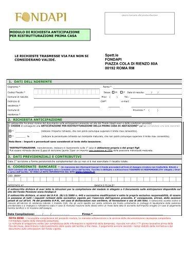 Modulo richiesta anticipazione per interventi di cometa - Modulo per ristrutturazione casa ...