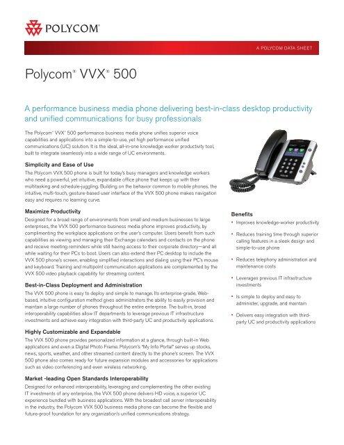 Polycom VVX 500 Datasheet - VoIP Supply