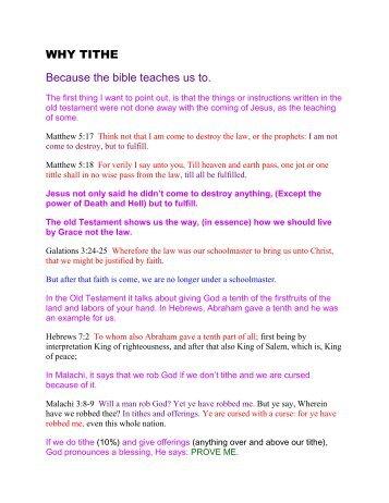 Why Tithe? - Burning Bush Christian Crusades