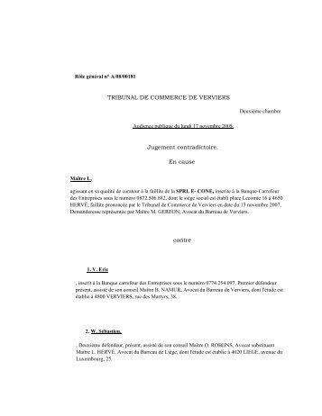 Consulter le jugement du Tribunal de Commerce de ... - Juridat