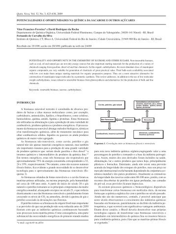 Potencialidades e oPortunidades na química da sacarose e