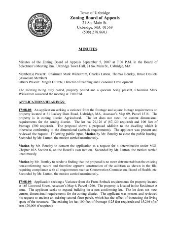 Zoning Board of Appeals - Town of Uxbridge