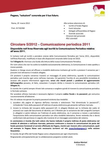 Circolare 5/2012 - Fondo Pegaso