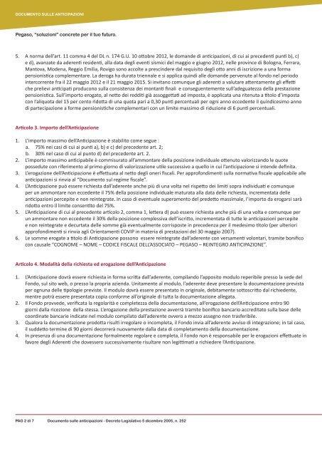 Documento sulle Anticipazioni - Fondo Pegaso