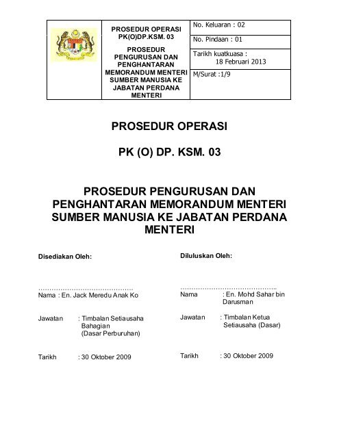 PROSEDUR OPERASI - Kementerian Sumber Manusia