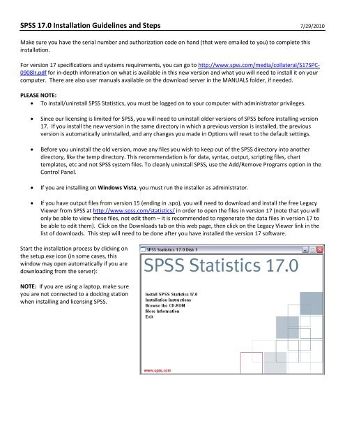 SPSS 17 Install steps