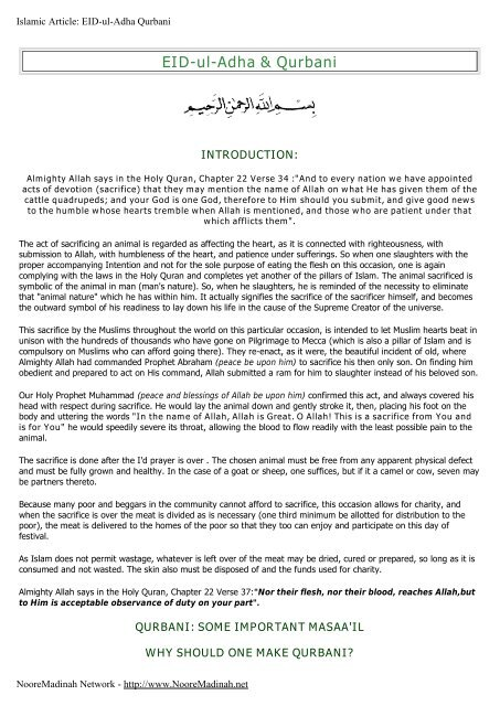 EID-ul-Adha & Qurbani - Noore Madinah Network