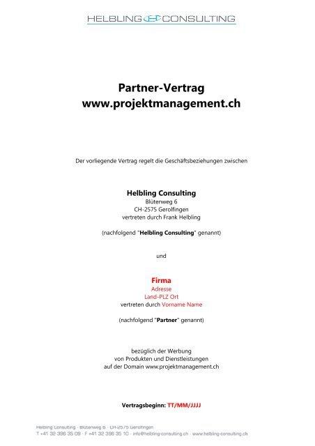 Vorlage Unseres Partnervertrags Projektmanagementch