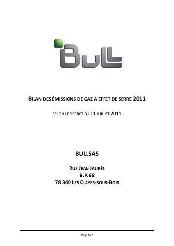 Télécharger le bilan des émissions de gaz à effet de serre 2011 - Bull