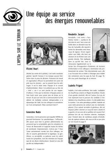 Une équipe au service des énergies renouvelables - APERe